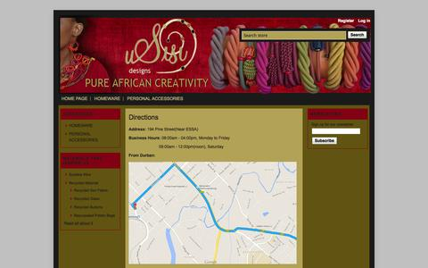 Screenshot of Maps & Directions Page usisicraft.co.za - Directions   Usisi Designs - captured Oct. 26, 2014