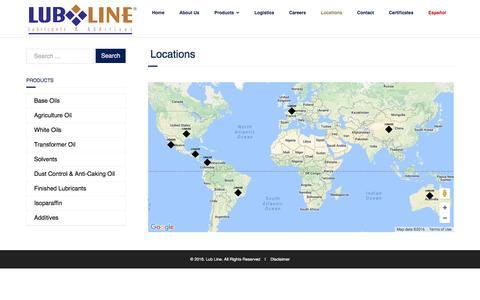 Screenshot of Locations Page lubline.com - Locations | Lub Line - captured Nov. 12, 2016