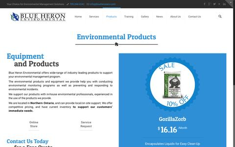 Screenshot of Products Page blueheronenv.com - Environmental Products - captured Feb. 7, 2016