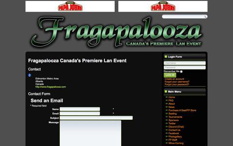 Screenshot of Contact Page fragapalooza.com - Fragapalooza - Contact Us - captured Jan. 11, 2018