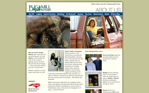 Screenshot of About Page bigmill.com - Big Mill Bed & Breakfast – Innkeeper Chloe Tuttle - captured Oct. 5, 2014