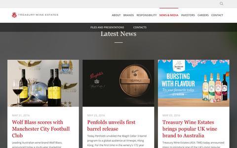 Screenshot of Press Page tweglobal.com - Media - Treasury Wine Estates - captured June 2, 2016
