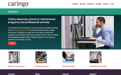 Screenshot of Support Page caringo.com - Support   Caringo - captured June 16, 2015