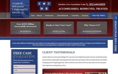 Screenshot of Testimonials Page chaikinandsherman.com - Testimonials | Washington, DC Personal Injury Attorney - captured Jan. 27, 2016