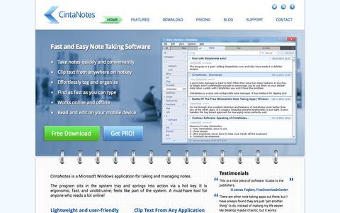 Screenshot of Home Page cintanotes.com - CintaNotes - Note Taking Software - captured Sept. 25, 2014