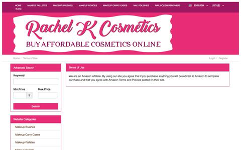 Screenshot of Terms Page rachelkcosmetics.com - Terms of Use | Rachel K Cosmetics - captured June 27, 2017