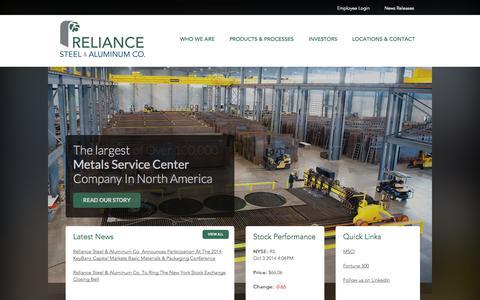 Screenshot of Home Page rsac.com - Reliance Steel & Aluminum Co. - captured Oct. 5, 2014