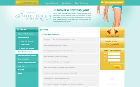 Screenshot of FAQ Page gentletouchlaser.com - Laser Hair Removal Frequently Asked Questions (FAQs) | Laser Hair Removal Information - captured Oct. 27, 2014