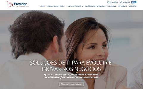 Screenshot of Home Page provider-it.com.br - Provider IT & Business Solutions - captured July 17, 2016