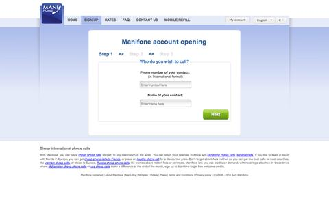 Screenshot of Signup Page manifone.com - Manifone account creation - captured Sept. 24, 2014