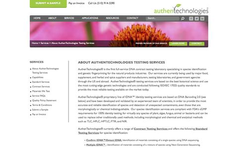 Screenshot of Services Page authentechnologies.com - About AuthenTechnologies Testing Services | AuthenTechnologies - Premier Contract-testing & Research Laboratory - captured Oct. 4, 2014