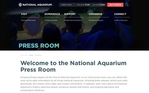 Screenshot of Press Page aqua.org - National Aquarium | Press Room - captured June 2, 2019