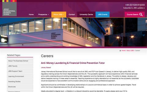 Screenshot of Jobs Page jerseyibs.com - Careers | Jersey International Business School - captured Oct. 16, 2017