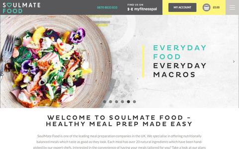 Screenshot of Home Page soulmatefood.com - Healthy Meal Prep Delivery Made Easy | SoulMate Food - captured Sept. 21, 2018
