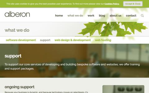 Screenshot of Support Page alberon.co.uk - Support and training - Alberon, Oxford - captured May 29, 2017