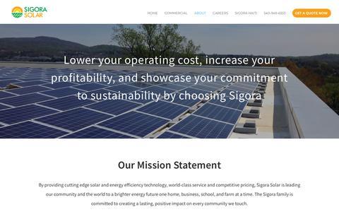 Screenshot of About Page sigorasolar.com - About | Sigora Solar - captured Aug. 9, 2018