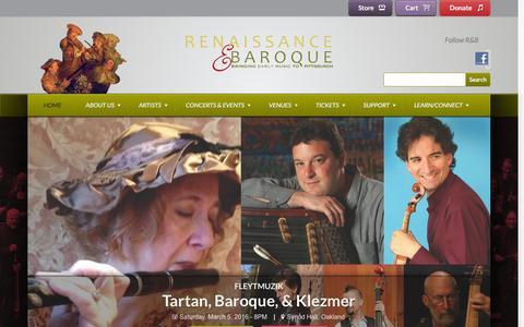 Screenshot of Home Page rbsp.org - Renaissance & Baroque - captured Jan. 28, 2016