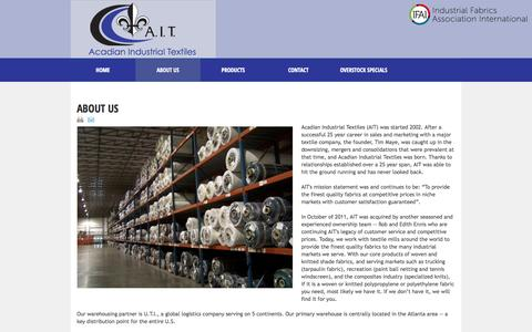 Screenshot of About Page acadiantextiles.com - About Us - captured Oct. 4, 2014