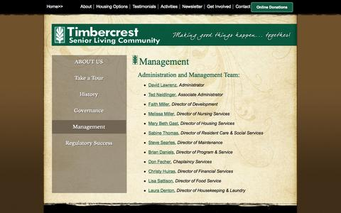 Screenshot of Team Page timbercrest.org - Management - Timbercrest Senior Living Community - North Manchester, Indiana - captured Oct. 7, 2014