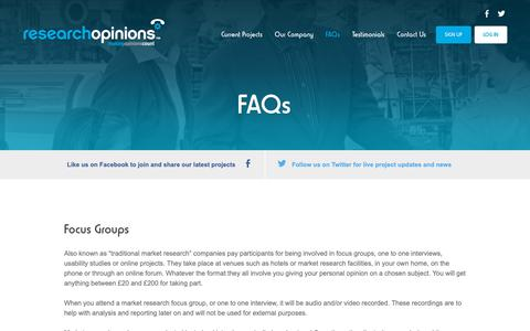 Screenshot of FAQ Page researchopinions.co.uk - FAQs - Research Opinions - captured Oct. 19, 2018