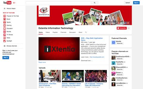 Screenshot of YouTube Page youtube.com - Extentia Information Technology  - YouTube - captured Oct. 23, 2014