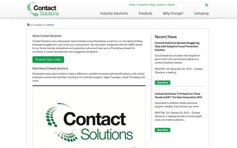 Screenshot of Jobs Page contactsolutions.com - Careers | Contact Solutions - captured Dec. 4, 2015