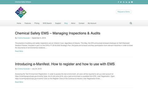Screenshot of Blog chemicalsafety.com - EH&S Software News - captured Sept. 30, 2018