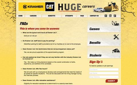 Screenshot of FAQ Page kramerjobsite.ca - FAQs « Kramer Recruiting - captured Oct. 6, 2014