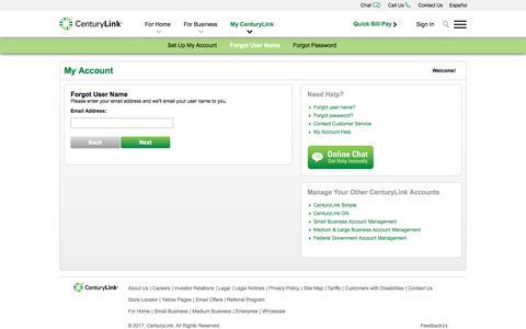 CenturyLink - Forgot User ID