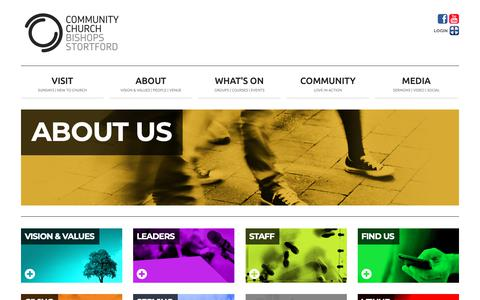 Screenshot of About Page thecommunitychurch.org.uk - Community Church Bishop's Stortford   About us - captured Dec. 15, 2018