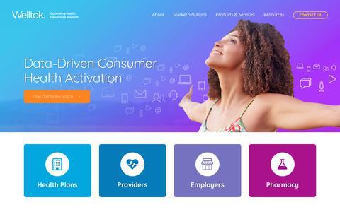 Screenshot of Home Page welltok.com - Data-Driven Consumer Health Activation | Welltok - captured June 14, 2019