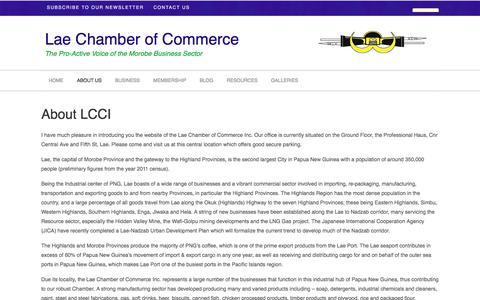 Screenshot of About Page lcci.org.pg - About LCCI | Lae Chamber of Commerce - captured June 30, 2018