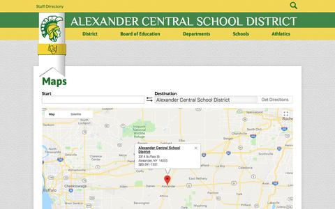Screenshot of About Page Maps & Directions Page alexandercsd.org - Maps | Alexander Central School District - captured Feb. 27, 2018