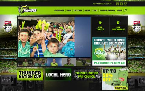 Screenshot of Home Page sydneythunder.com.au - Sydney Thunder - Big Bash League - captured Sept. 30, 2014