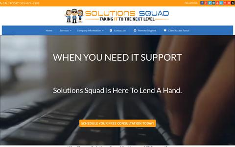 Screenshot of Home Page solutionssquad.com - Solutions Squad Inc - Managed IT support for small business. | Solutions Squad - Managed IT Support - captured Feb. 26, 2016
