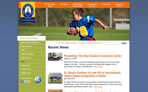 Screenshot of Press Page smaa.org - Recent News | St. Mary's School - captured Sept. 22, 2014