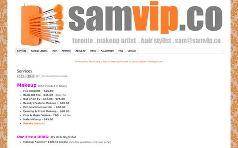 Screenshot of Services Page Terms Page samvip.co - Services - captured Oct. 4, 2014