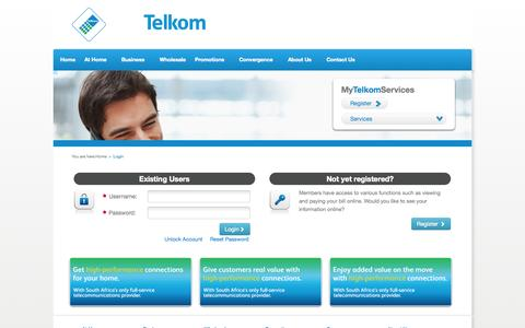 Screenshot of Login Page telkom.co.za - Telkom SA SOC Limited - captured Sept. 18, 2014