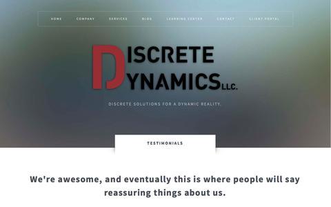 Screenshot of Testimonials Page dis-dyn.com - Testimonials | Discrete Dynamics LLC. - captured Oct. 5, 2014