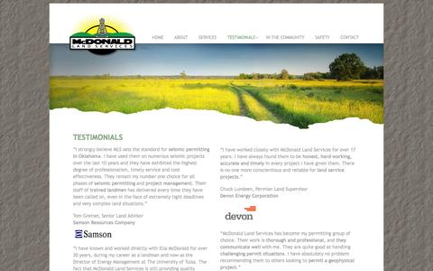 Screenshot of Testimonials Page mcdls.com - Testimonials for Our Oil & Gas Services - captured Oct. 27, 2014