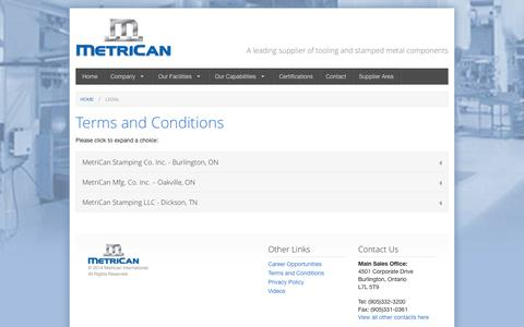 Screenshot of Terms Page metrican.com - Legal - captured Oct. 27, 2014
