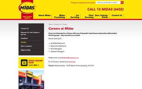 Screenshot of Jobs Page midas.com.au - Midas - Car Service   Brake Service   Auto Service   Exhaust   Suspension - captured Feb. 13, 2016