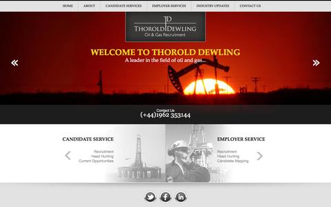 Screenshot of Home Page thorolddewling.com - Oil and Gas Recruitment Agency, Oil Rig Recruitment, UK - captured Nov. 17, 2017