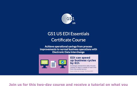 Screenshot of Landing Page gs1us.org - GS1 US EDI Essentials Certificate Course - captured March 6, 2018