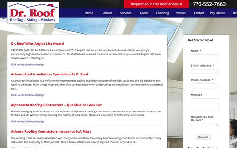 Screenshot of Blog drroof.com - Roof Repair Atlanta How To's Help Guides & Roofing Services - captured Aug. 5, 2017