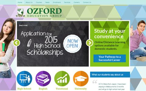 Screenshot of Home Page Terms Page ozford.edu.au - Ozford – Ozford - captured Oct. 8, 2014