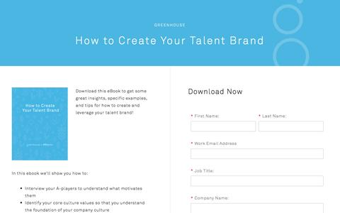 Screenshot of Landing Page greenhouse.io - How to Create Your Talent Brand - captured Dec. 19, 2016