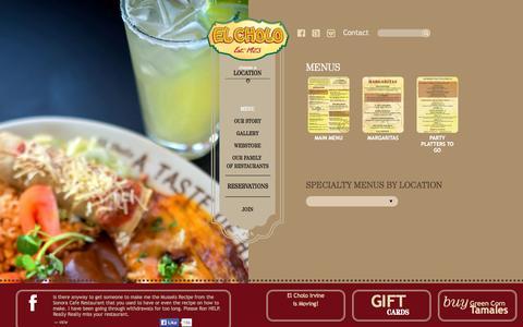 Screenshot of Menu Page elcholo.com - El Cholo, Mexican Restaurant Menus   El Cholo Mexican Restaurants - captured Sept. 19, 2014