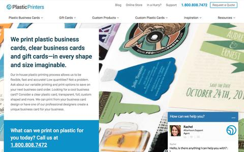Screenshot of Home Page plasticprinters.com - Clear Plastic Business Cards, Gift Cards, Custom Shaped, Plastic Printers - captured Aug. 28, 2016