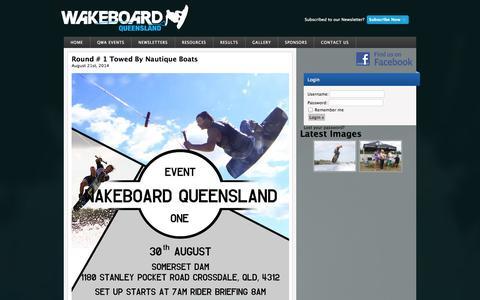Screenshot of Home Page wakeboardqld.com - Queensland Wakeboard Association - captured Oct. 3, 2014